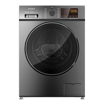 創維(創維)ロール洗濯機は全自動で10キロの周波数が変化して、省エネ洗濯一体になります。途中で服を追加します。高温ダニ(チタン灰銀)X 10 D